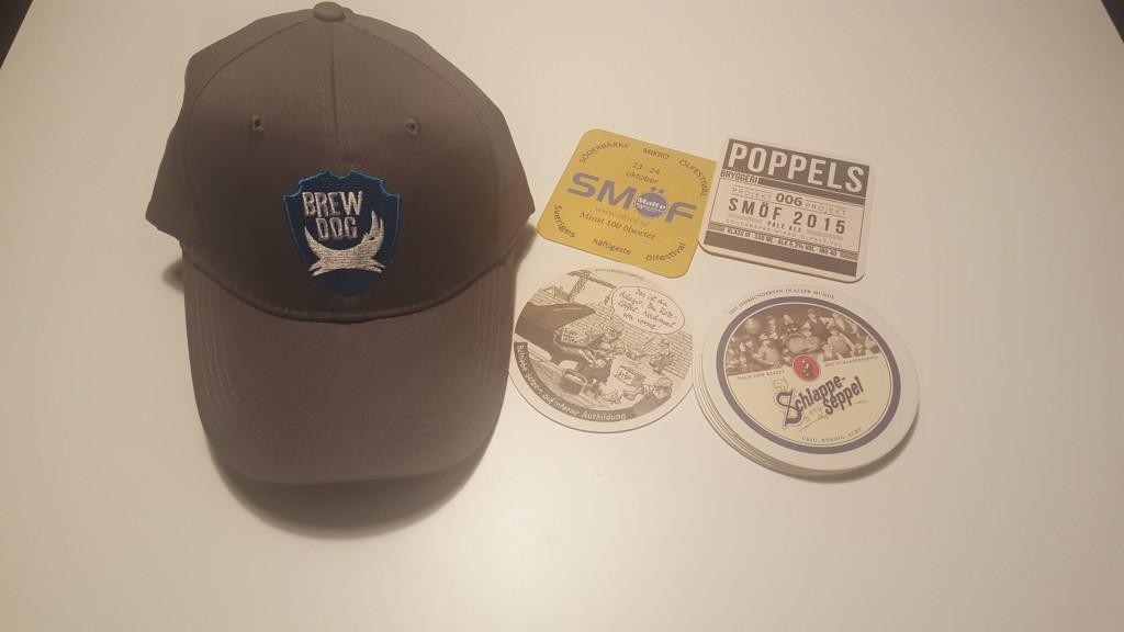 Keps från Brew Dog, och coasters från Poppels och schlappeseppel